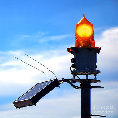 Solar Powered Marine Safety Orange Beacon Light  Print by Olivier Le Queinec