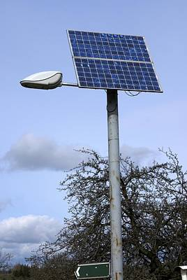 Solar Powered Street Light, Uk Print by Mark Williamson
