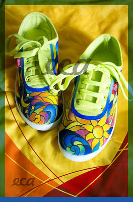 Sneakers Mixed Media - Solar Sneakers by Irina Effa