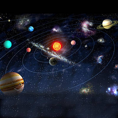Planetary System Mixed Media - Solar System by Gina Dsgn