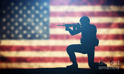 American Photograph - Soldier Shooting On Usa Flag by Michal Bednarek