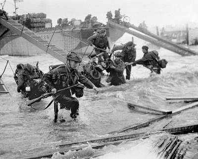 Omaha Photograph - Soldiers Disembarking From Landing Craft At Ouistreham And Bernieres In The St Aubin Sector On 6th J by English School