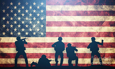 Conflict Photograph - Soldiers In Assault On Usa Flag by Michal Bednarek