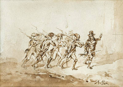 Drawing - Soldiers' March by Denis-Auguste-Marie Raffet