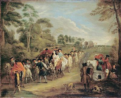 Antoine Watteau Painting - Soldiers On The March by Antoine Watteau