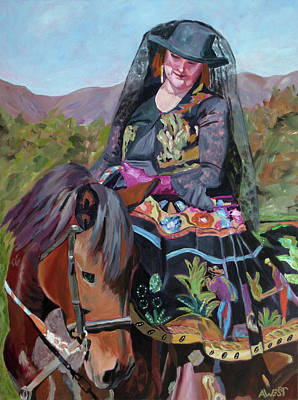 Women On Horses Painting - Solecita's Pride by Anne West