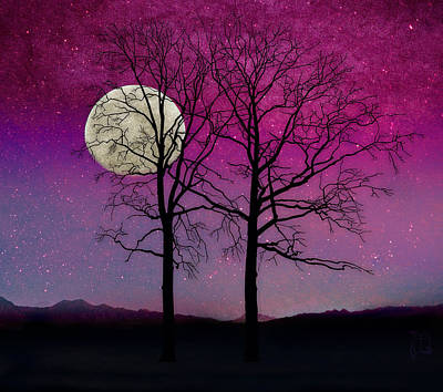 Solitude II Harvest Moon, Pink Opal Sky Stars Print by Tina Lavoie
