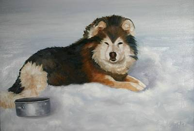 Arctic Dog Painting - Solitude  by Keith Nolan