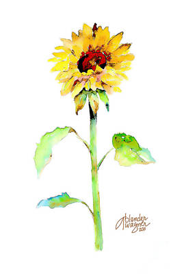 Flower Mixed Media - Solo Sunflower by Arline Wagner