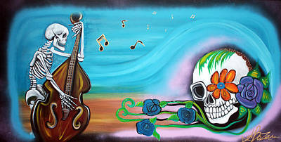Skull Painting - Some Beach Some Where by Laura Barbosa