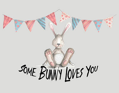 Adorable Digital Art - Some Bunny Loves You by Colleen Taylor