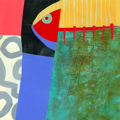 Abstract Collage Painting - Something About Being On A Lake by Jane Davies