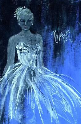 Wedding Dress Drawing - Something Blue by P J Lewis