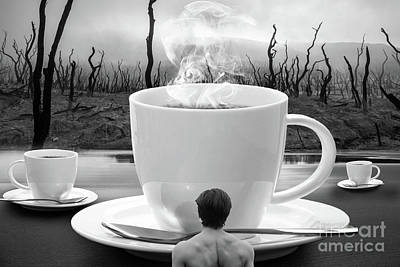 Dark Digital Art - Something Hot - Bw by Prar Kulasekara