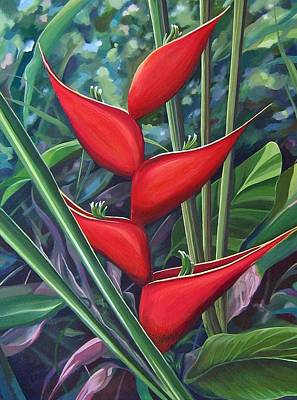 Heliconia Painting - Something In Red by Hunter Jay