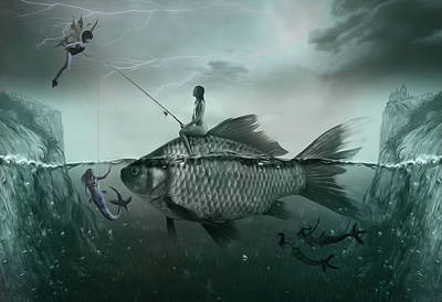 Goldfish Digital Art - Something Smells Fishy by Surreal Photomanipulation
