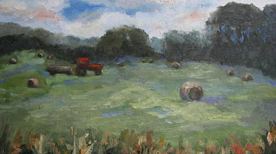 Haybale Painting - Somewhere In Oklahoma by Sharon Franke