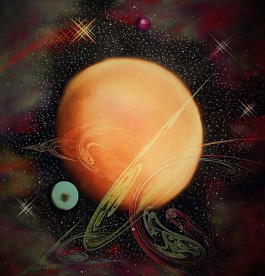 Planetoid Mixed Media - Somewhere In The Heavens by Kathy Franklin