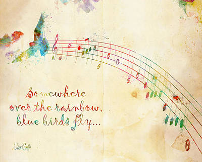 Music Lover Digital Art - Somewhere Over The Rainbow by Nikki Smith