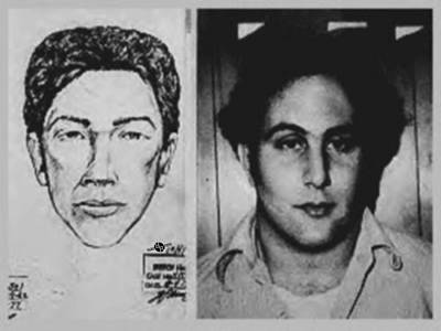 Son Of Sam David Berkowitz Mug Shot And Police Sketch Print by Tony Rubino
