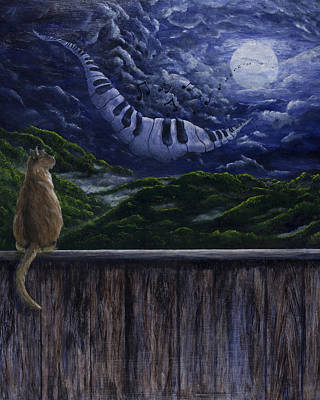 Surrealistic Painting - Song In The Night by Jyvonne Inman