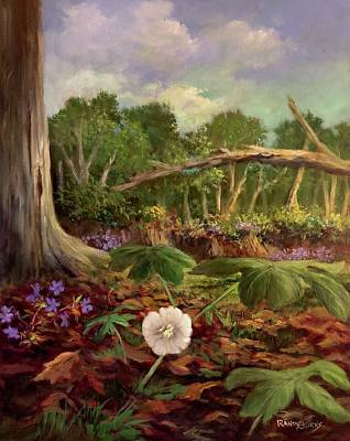 Phlox Painting - Song Of The Mayapple by Randol Burns