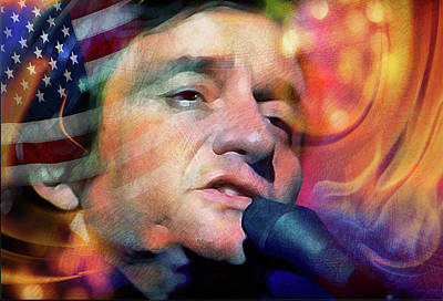 Johnny Cash Mixed Media - Song Of The Patriot by Mal Bray