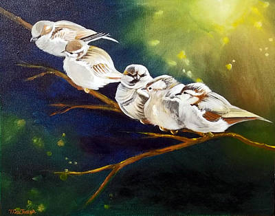 Chirp Painting - Song Of The Sparrows by Terry Cox Joseph