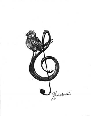 Chickadee Drawing - Songbird  by J Ferwerda