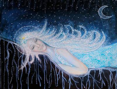 Sacred Feminine Moon Painting - Soon You Will Awake And Shine Like 1000 Stars Again by Lila Violet