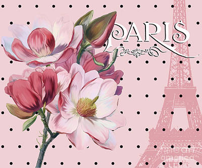 Sophisticated Parisian Pink Magnolias Black Polka Dots, Eiffel Tower France Print by Tina Lavoie
