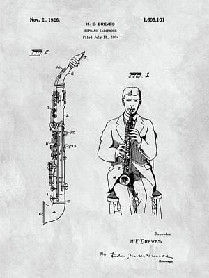Saxophone Mixed Media - Soprano Saxophone Patent by Dan Sproul
