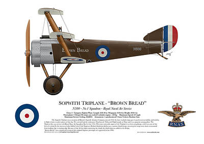 1916 Digital Art - Sopwith Triplane - ' Brown Bread ' - Side Profile View by Ed Jackson
