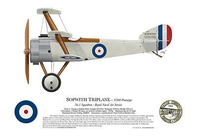 1916 Digital Art - Sopwith Triplane Prototype - Side Profile View by Ed Jackson