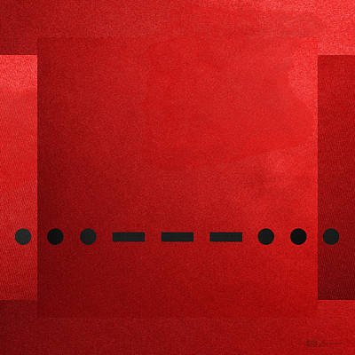 Visual Communication Digital Art - Sos International Morse Code Prosign - Black On Red.   by Serge Averbukh
