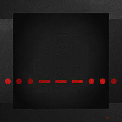 Visual Communication Digital Art - Sos International Morse Code Prosign - Red On Black by Serge Averbukh