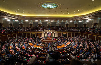 Sotu At U.s. Congress Joint Session Print by Science Source