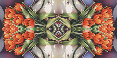 Soul Plexus - Tulips With Pearl Chakras Print by Amy S Turner