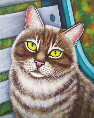 Domestic Short Hair Cat Painting - Soulful Eyed Tabby Cat by Lisa Nelson