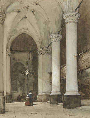 Seventeenth Century Drawing - South Aisle Of The Grote Kerk In The Hague, With Seventeenth-century Figures by Johannes Bosboom