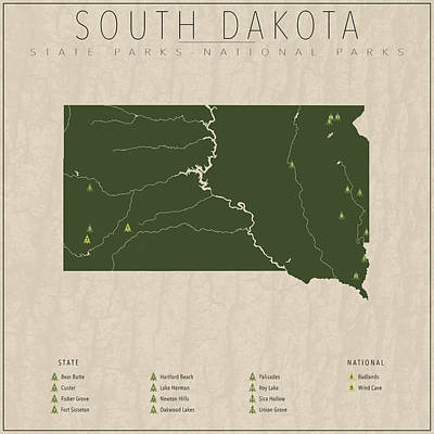 South Dakota Parks Print by Finlay McNevin