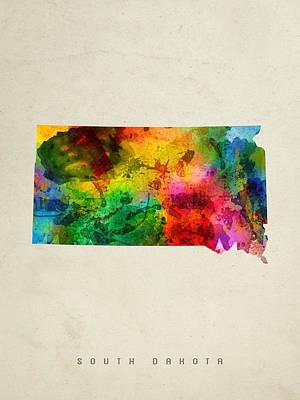 South Dakota State Map 01 Print by Aged Pixel