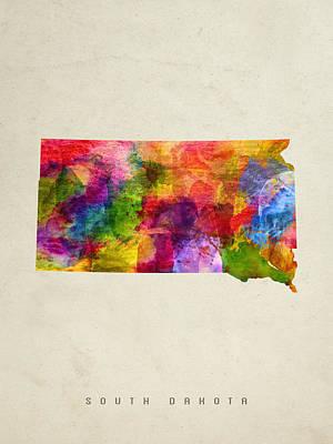 South Dakota State Map 02 Print by Aged Pixel