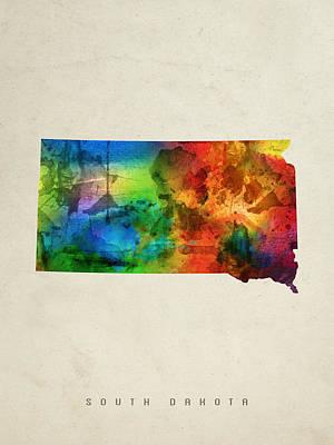 South Dakota State Map 03 Print by Aged Pixel