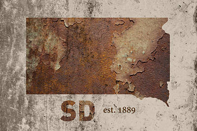 South Dakota State Map Industrial Rusted Metal On Cement Wall With Founding Date Series 036 Print by Design Turnpike