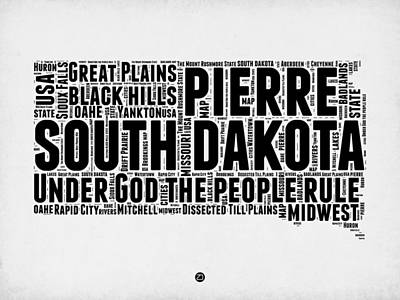 4th Of July Mixed Media - South Dakota Word Cloud 1 by Naxart Studio
