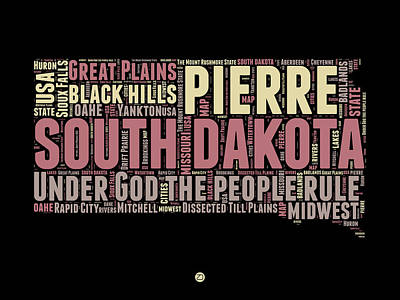 4th Of July Mixed Media - South Dakota Word Cloud 2 by Naxart Studio