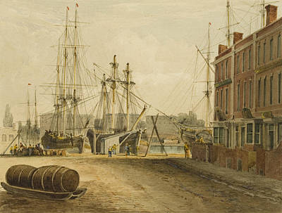 Dock Drawing - South End Of Prince's Street by Thomas Leeson the Elder Rowbotham