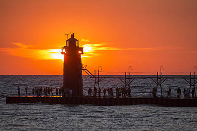 South Haven Michigan Sunset Print by Adam Romanowicz