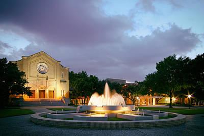 Religious Art Photograph - South Main Baptist Church At Twilight - Midtown Houston Texas by Silvio Ligutti